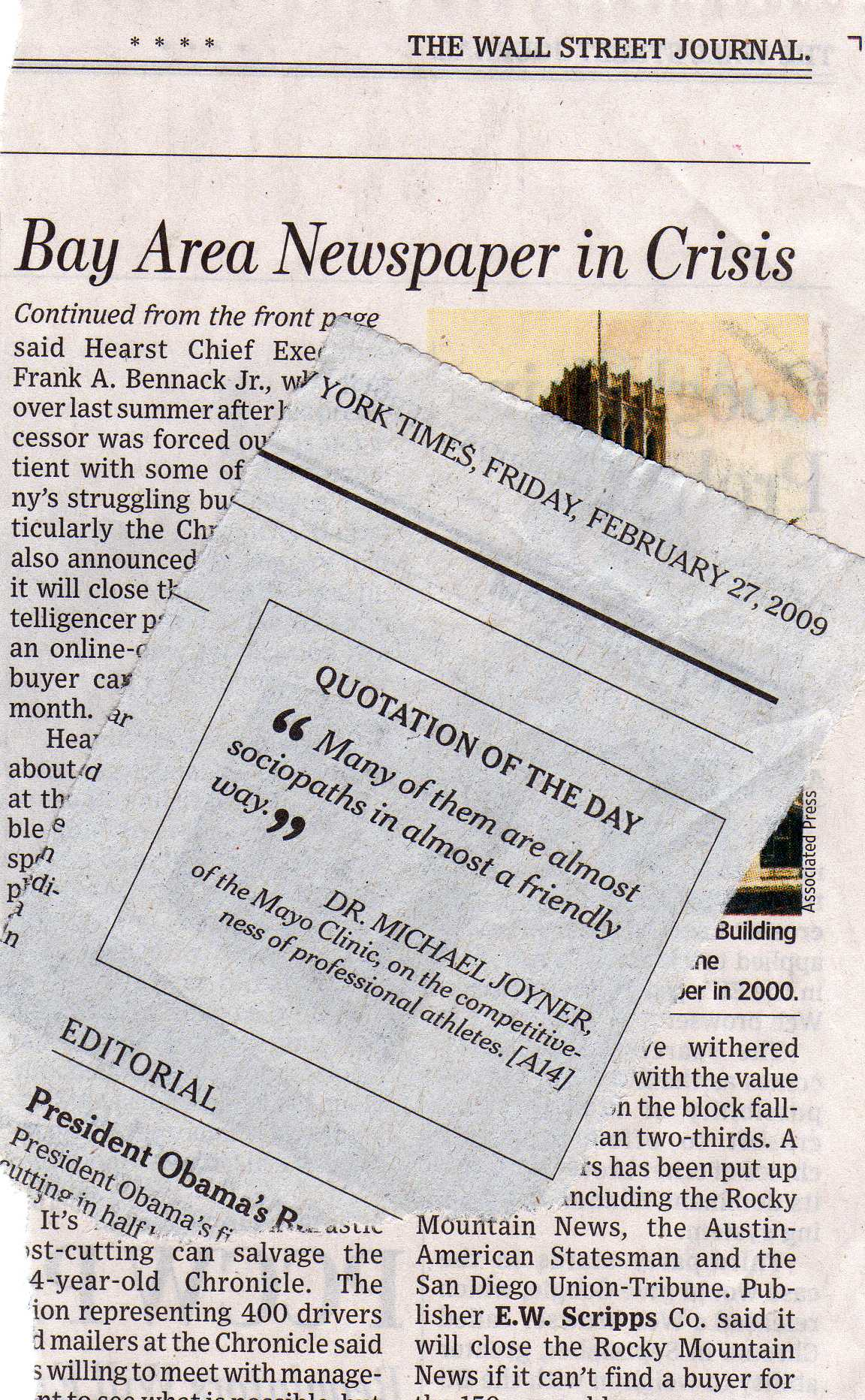 Hearst newspaper and sports quote