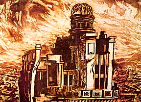 """Evening Glow over Hiroshima,"" woodcut by atom bomb survivor, Asai Kiyoshi"